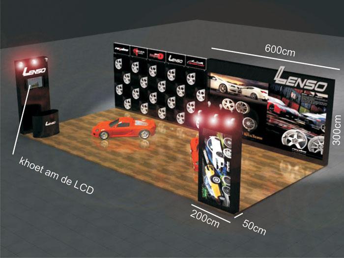 thiết kế gian hàng hội chợ trưng bày xe hơi